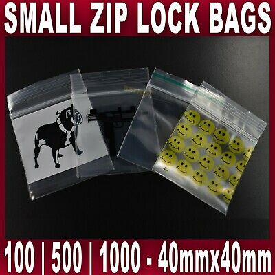 SMALL SEALY GRIP ZIP LOCK BAG SEAL STASH BAGS BAGGIES 4x4cm