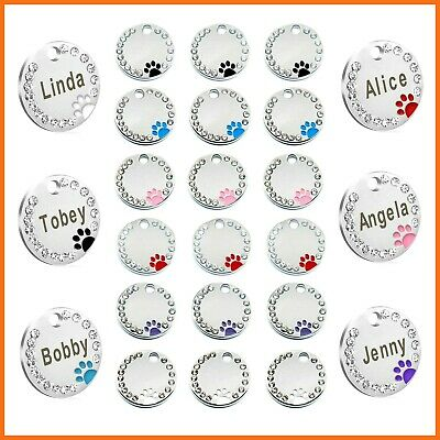 Personalised Engraved Glitter Paw Print Tag Dog Cat Pet ID Tags Reflective  gift
