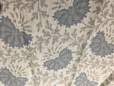 """Sister Parish Vreeland Linen Quilting Fabric Remnant  42"""" x 7 """" Blue Taupe White"""