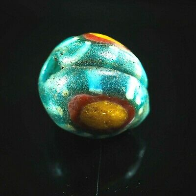 Ancient Roman  Stratified eye Byzantine Translucent Blue Islamic Glass  bead