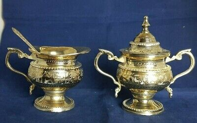Beautiful Vintage Heavy Silver Plated Sugar Bowl  and Milk Jug with Spoon