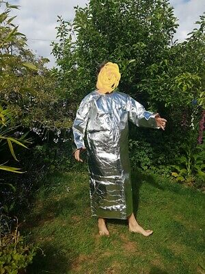 Spaceman suit or Welders apron silver full lenght coat