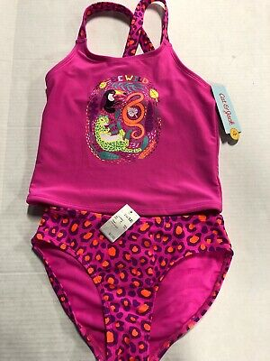 NWT Girls Cat & Jack Two Piece swimSuit Tankini Leopard L 10/12 Target