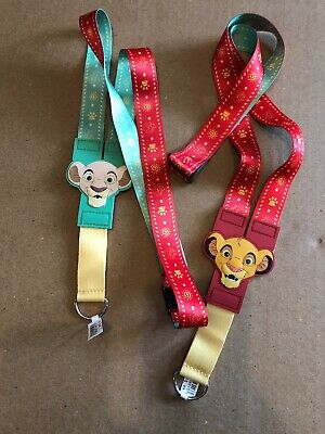 Disney Parks Lion King Young Simba & Nala Red Green Pin Lanyard  Reversible New