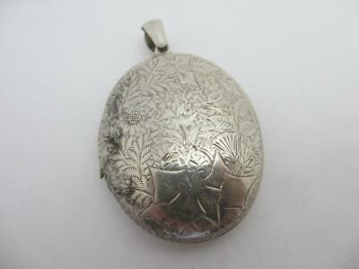 Ivy Leaf Sterling Silver Dble Pendant Locket Antique English Victorian. tbj08025