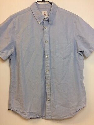 Gap Mens Button Lightweight Light Blue Modern Oxford Short Sleeve Shirt Size XL