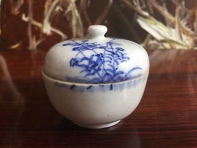 Chinese Small Covered Dish with Blue Floral Decoration