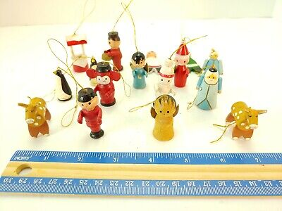 Vintage 1940 S 1950 S Christmas Wood Ornaments Set Of 35 Mixed Lot