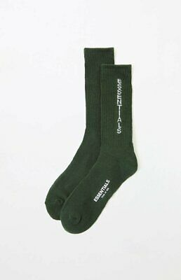 Pacsun Fear of God FOG Essentials Crew Socks Yellow with Black Text