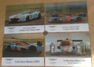Official Aston Martin Racing Le Mans LMP1 DBR9 3D Plastic Display Cards x 4 NIP