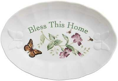 """Lenox Butterfly Meadow """"Bless This Home"""" Tray Serverware"""