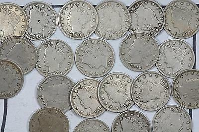 "1900-1901 Liberty ""V"" Nickel 5C Lot (21 Coins) F/Vf"