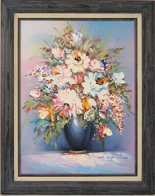 Original Oil Painting On Canvas Flowers In Vase Heavy Texture Signed Framed