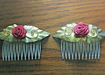 Vintage Hair Combs Clips Barrettes Gold Tone Red Rose flower Engraved Pair Set