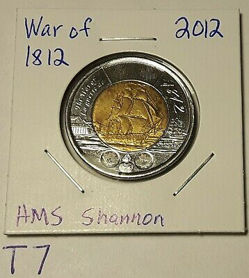 1812-2012 CANADA 2 Dollar War of 1812 HMS Shannon Toonie Coin T7
