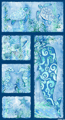 Sea Glass Quilt Panel * Watercolour Ocean * New * Free Post *