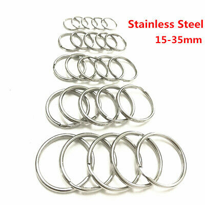 Stainless Steel Key Ring Split Rings Solid Round Wire Keyring Key chain 15-35mm