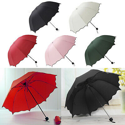 New Super Compact Folding Umbrella Windproof Sun Travel Umbrella Women Summer UK