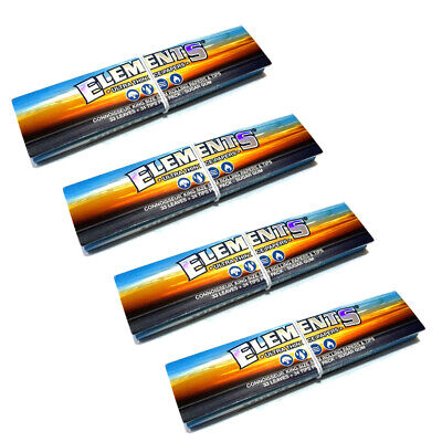 4x Elements Connoisseur King Size Slim Rolling Paper and Tips