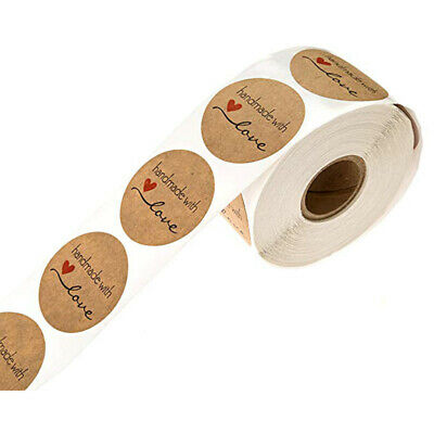 1 Inch Round Natural Kraft Handmade with Love Stickers/500 labels per ro V9V7
