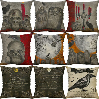 "Cotton 18"" Cushion Cover Linen Pillow Decor Print Home Halloween Case Sofa"