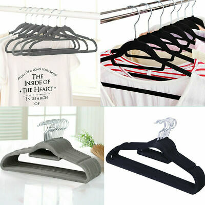 50/100PCS Dresses Coat Hanging Non Slip Velvet Flocked Clothe Hangers Curved