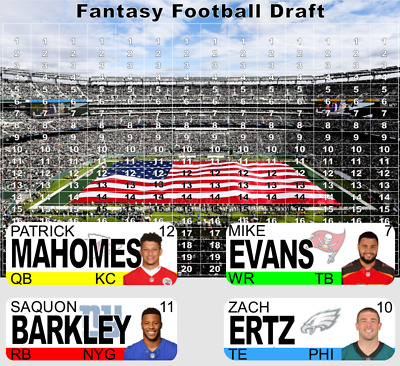 2019 Fantasy Football Draft Kit - Color Player Labels - Full Color Board