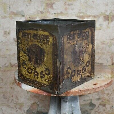 Antique Vintage Petit Beurre Corso Large Metal Tin Paper Covered Advertising