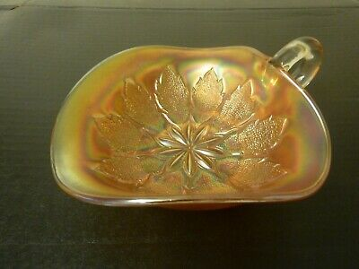 c1920's MARIGOLD CARNIVAL GLASS SWEET DISH WITH HANDLE - DUGAN LEAF RAYS PATTERN