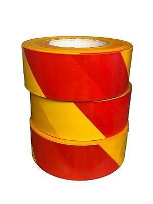 Barrier Tape Red / Yellow Stripe 50mm Wide x 100M Long - Hazard Warning Tape