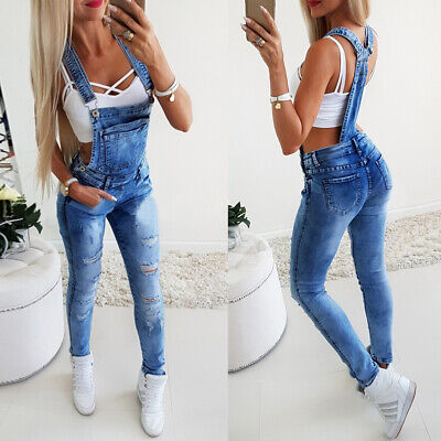 Womens Ladies Denim Dungarees Overalls Slim Fit Ripped Jeans Jumpsuit Rompers