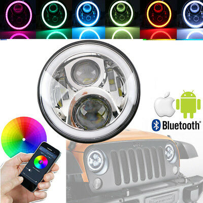 7 Zoll LED Scheinwerfer RGB Angel Eyes Bluetooth Chrom für Jeep Wrangler Lada