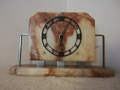 Vintage Temco Marble Art Deco Mantel Clock Heavy England Telephone MFG Co large