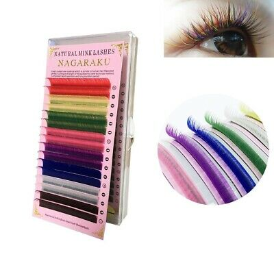 Nagaraku Colored Eyelash Extension Faux Mink Individual Lashes 8 Colors Rainbow