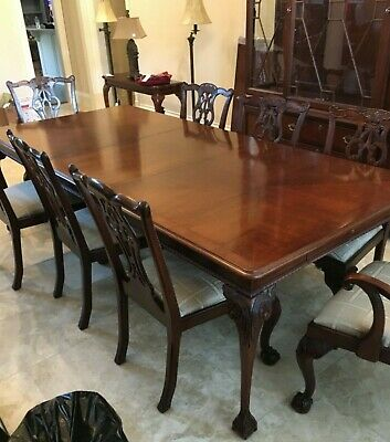"""Dining Table and 8 Chairs Mahogany Palmer Home Formal Carved Wood 24"""" Leaf"""