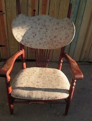 Unique Vintage Cloth and Wooden Spindle Back Chair