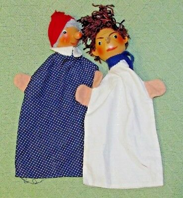 "Vintage WOODEN Hand Puppets GERMAN Made 12"" Long Lady Maid Young Boy Antique Toy"