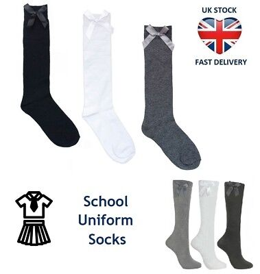 GIRLS KNEE HIGH SOCKS WITH BOW School Uniform Children Kids 3 Sizes and Colours