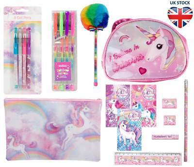 RAINBOWS & UNICORNS  🦄 STATIONERY Pencil Case Gel & Pom Pom Pens Mini Pad Bag