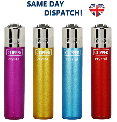 4x CLIPPER LIGHTERS CLASSIC CRYSTAL 5 Design Original Size Gas Flint Refillable