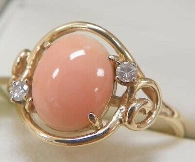 Antique Coral Ring - 14k Gold with Diamond Acents