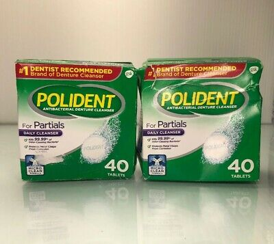 Polident for Partials Antibacterial Denture Cleanser Tablets, 40x2 count