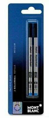 Montblanc Refills Pacific Blue 2 Pack Medium Point Rollerball Pen NEW