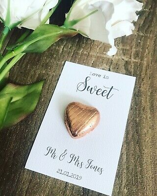 💓DIY Wedding Personalised Favour Cards For Chocolate Foil Hearts Affordable💓