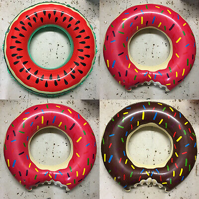 84cm Novelty Swim Ring Donut Watermelon Inflatable Pink Rubber Holiday Pool Kids