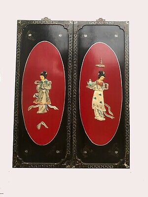 RARE~Antique Chinese Wood Plaques ~ Carved Geisha w/Mother of Pearls~Lot of 2