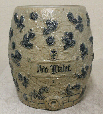 Antique Utica Ny Stoneware Ice Water Cooler Beautiful Decorated Flowers 4 Gallon