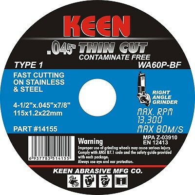 "Box of 50- STAINLESS THIN Cut Off Wheel 4-1/2""x.045""x7/8"" KEEN Abrasives 14152"