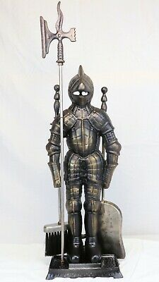 """Vintage Cast Iron Knight In Armor Fireplace Tool Set ~30"""" Tall"""