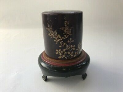 Wooden Buddhist Incense Stand Lacquer Ware Lidded Pedestal Japanese Vtg a58
